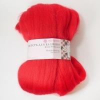 Шерсть для валяния полутонкая Пехорка 50г (06 красный)