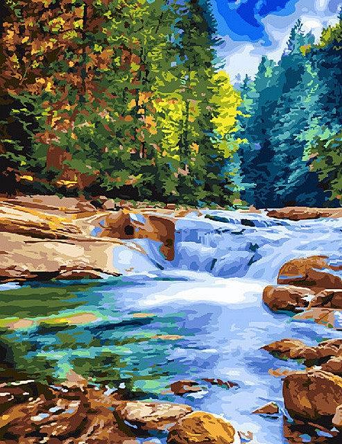 Картина по номерам GX 26118 Лесной пейзаж с рекой 40х50