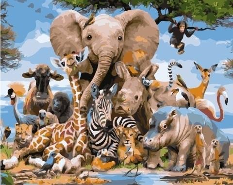 Картина по номерам GX 34487 Разнообразие животного мира 40х50
