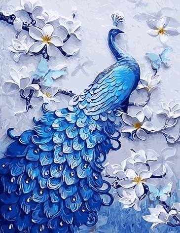 Картина по номерам GX 28243 Синий павлин 40х50