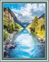 Алмазная мозаика без подрамника 40х50см,круглые стразы, полная выкладка WXSA2634 Горная река