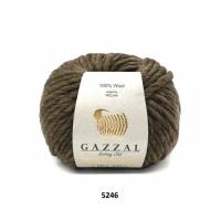 Пряжа Gazzal Pure Wool-4 (5246 темно-коричневый)