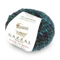 Пряжа Gazzal Rock n Roll (13951 изумруд/тёмно-серый)