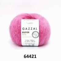 Пряжа Gazzal Super Kid Mohair (64421 ярко-розовый)