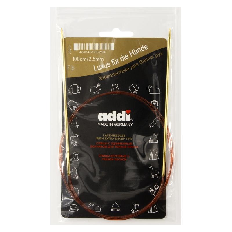 Спицы Addi 100 см 2,5 мм круговые позолоченные с удлиненным кончиком