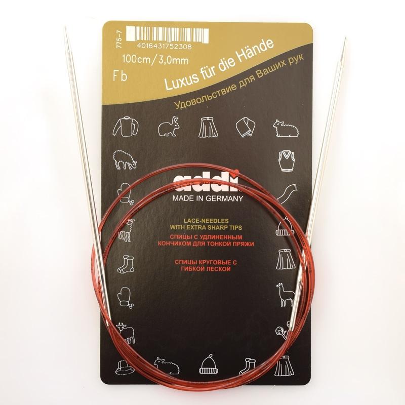 Спицы Addi 100 см 3 мм круговые с удлиненным кончиком