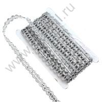 Тесьма декоративная с пайетками 1,5 см 7827 в ассортименте (серебро)