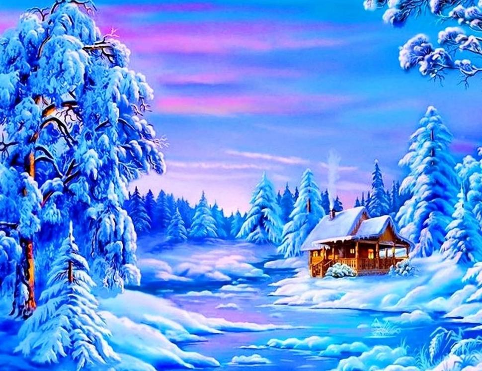Алмазная мозаика на подрамнике полной выкладки с квадратными стразами FZ146 Снежная зима 40х50 см