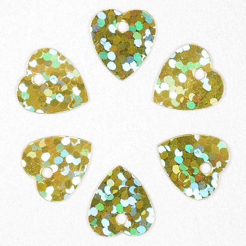 Пайетки 10гр 10х10мм Сердце голография золото В18