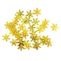 Пайетки Снежинки 13мм Астра 10г (А20 золото голограмма 7721051)