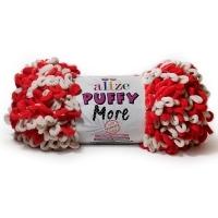 Пряжа Ализе Пуффи Морэ (6286 красный/белый)