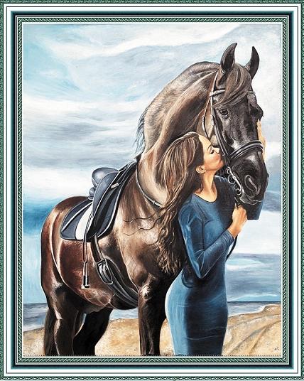 Алмазная мозаика без подрамника 40х50 см, круглые стразы, полная выкладка WXSA2699 Девушка и конь