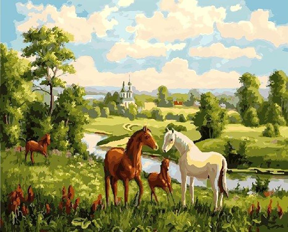 Алмазная мозаика на подрамнике полной выкладки круглые стразы AGK74936 Русский пейзаж 50х65 см