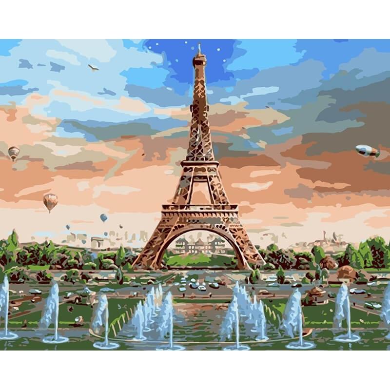Алмазная мозаика на подрамнике полной выкладки круглые стразы AGK76392 Париж 50х65 см
