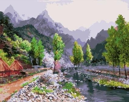 Картина по номерам GX 4589 Горы и река 40х50 см