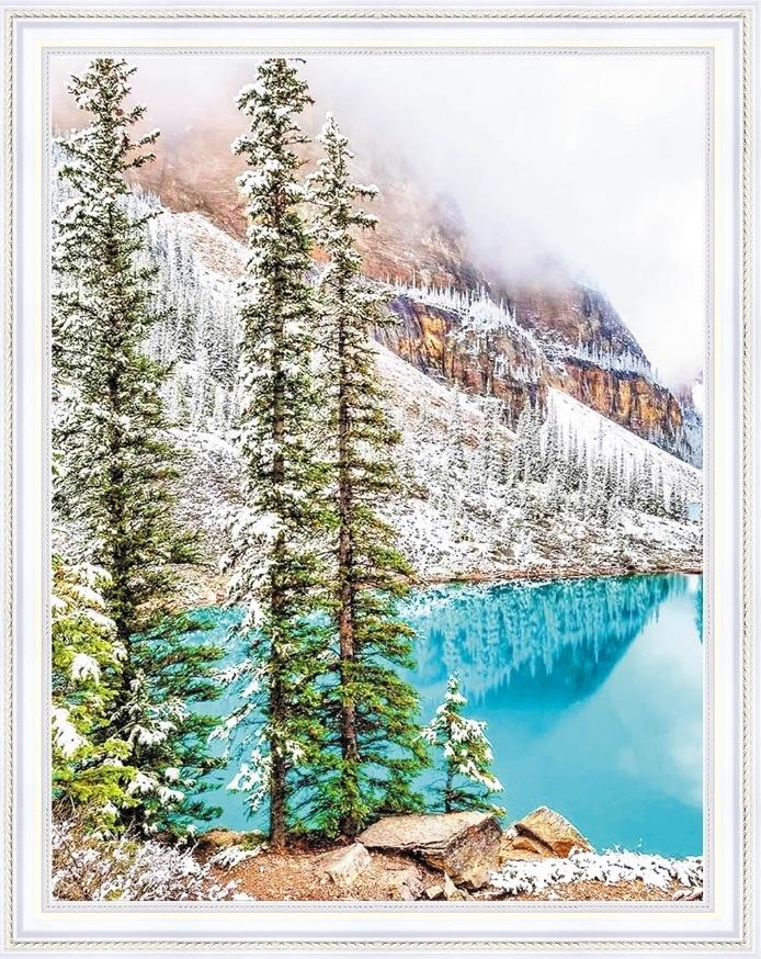 Алмазная мозаика на подрамнике полной выкладки круглые стразы SGA 2100 Горный пейзаж 40х50 см