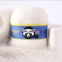 Пряжа Пух норки (Long mink wool) синяя этикетка (8801 белый)