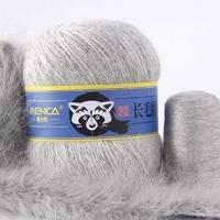 Пряжа Пух норки (Long mink wool) синяя этикетка (8802 светло-серый)