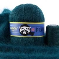 Пряжа Пух норки (Long mink wool) синяя этикетка (8805 изумруд)