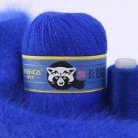 Пряжа Пух норки (Long mink wool) синяя этикетка (8809 василек)