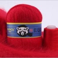 Пряжа Пух норки (Long mink wool) синяя этикетка (8810 красный)