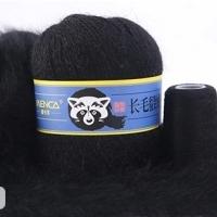 Пряжа Пух норки (Long mink wool) синяя этикетка (8811 черный)