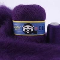 Пряжа Пух норки (Long mink wool) синяя этикетка (8821 фиолетовый)