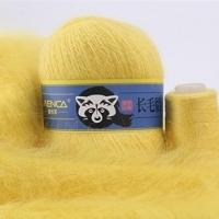 Пряжа Пух норки (Long mink wool) синяя этикетка (8827 ярко-желтый)