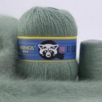 Пряжа Пух норки (Long mink wool) синяя этикетка (8832 серо-зеленый)