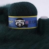Пряжа Пух норки (Long mink wool) синяя этикетка (8842 темно-зеленый)