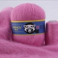 Пряжа Пух норки (Long mink wool) синяя этикетка (8843 ярко-розовый)