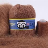 Пряжа Пух норки (Long mink wool) синяя этикетка (8849 св. коричневый)