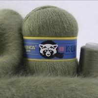 Пряжа Пух норки (Long mink wool) синяя этикетка (8853 фисташка)