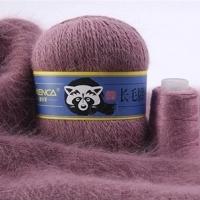 Пряжа Пух норки (Long mink wool) синяя этикетка (8863 пыльная роза)