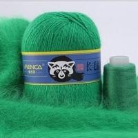 Пряжа Пух норки (Long mink wool) синяя этикетка (8835 зеленый)