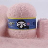 Пряжа Пух норки (Long mink wool) синяя этикетка (8837 розовый)