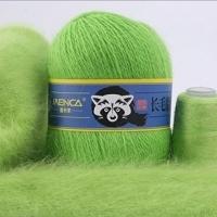 Пряжа Пух норки (Long mink wool) синяя этикетка (8839 салатовый)