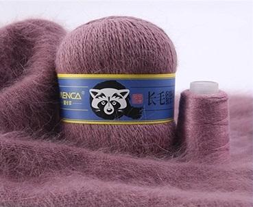 Пряжа Пух норки (Long mink wool) синяя этикетка