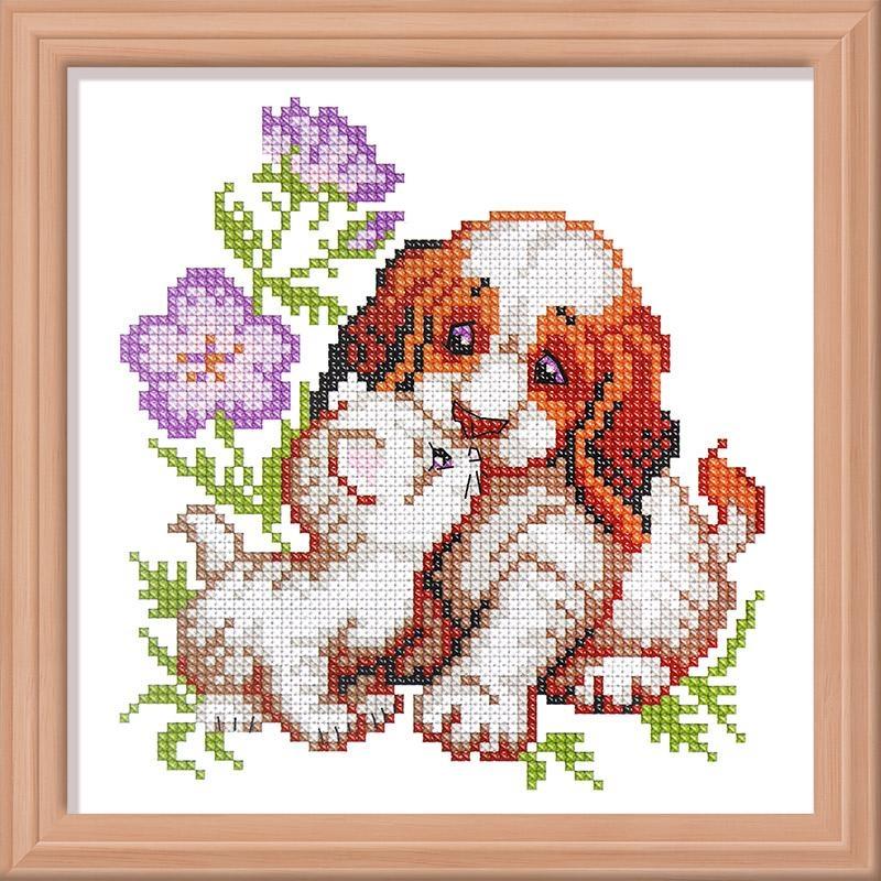 Набор для вышивания 274 Котенок и щенок 13х14 см Искусница