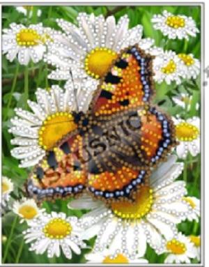 Набор для вышивания бисером нББ032 Бабочка с ромашкой 10х13см Искусница