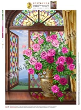 Набор для вышивания лентами нБЛ602 Розы на витражном окне Искусница 32,5х43 см