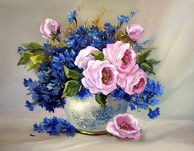 Картина по номерам GX 35206 Букет васильков и роз 40*50 см
