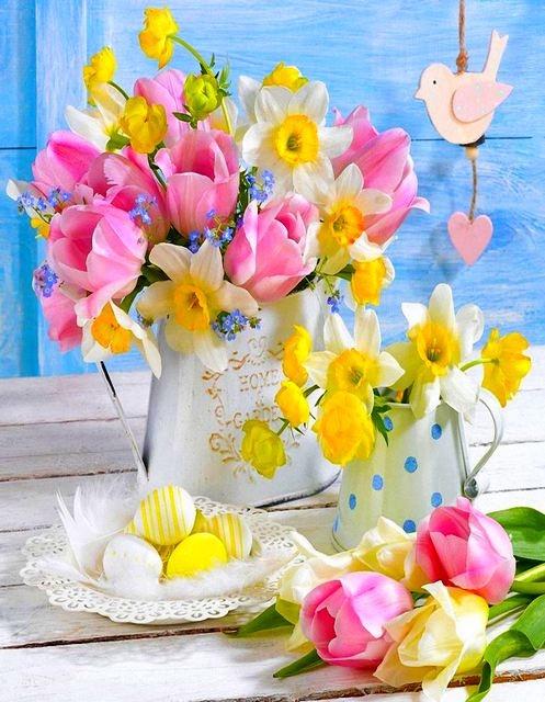 Картина по номерам GX 35158 Букет тюльпаны и нарциссы 40*50 см