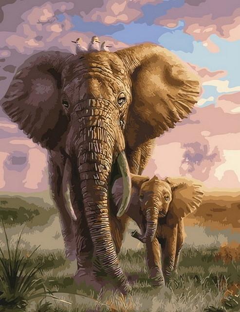 Картина по номерам GX 29630 Слоненок на прогулке с мамой 40*50 см