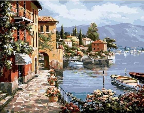 Картина по номерам GX 6917 Прибрежный городок 40х50 см