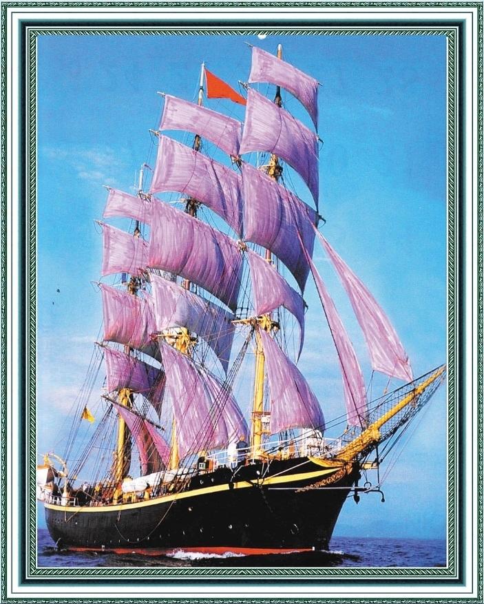 Алмазная мозаика на подрамнике полной выкладки круглые стразы SGA 2024 Корабль 40х50 см
