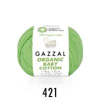 Пряжа Gazzal Organic Baby Cotton (421 светло-зелёный)