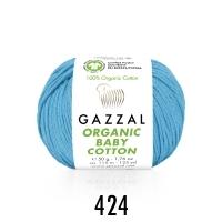 Пряжа Gazzal Organic Baby Cotton (424 бирюзово-голубой)