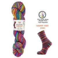 Пряжа Gazzal Happy Feet (3241 малиновый-жетлый-зеленый-синий)