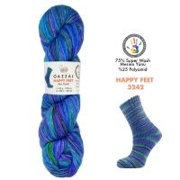 Пряжа Gazzal Happy Feet (3242 аквамарин-голубой-зеленый)